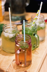 365project - day 31/366 (jenwuk) Tags: red colour green drinking mojito 365 cocktails straws woodenboard jamjar 365project paperstraw jamjarmug