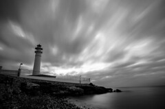 Faro de Torrox B&W (J Fuentes) Tags: sea costa lighthouse white black blanco sol del faro monocromo mar andaluca agua long exposure flickr y negro save nubes torrox mlaga larga exposicin