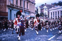 Pipe band parade, George St, Dunedin (Lim SK) Tags: new st george pipe band scottish zealand dunedin c1972