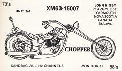 Chopper - Yarmouth, Nova Scotia (73sand88s) Tags: vintage novascotia motorcycle qsl cb yarmouth cbradio qslcard