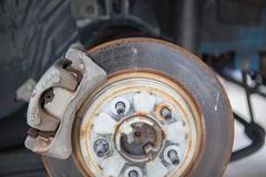 Day 29: Better Days (gupouk) Tags: car work rust automotive brake mustang rotor caliper