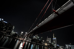 Holbein (ax.stoll) Tags: bridge red black color water skyline architecture night river frankfurt main less commerzbank holbeinsteg