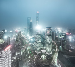 Shanghai at night (pfn.photo) Tags: china skyscraper lights asia cityscape shanghai metropolis bluehour hazy ifc longtimeexposure megacity shanghaitower