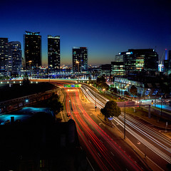docklands blue hour mamiya 6 fuji pro160 (pixelwhip) Tags: road city blue light urban 6x6 film car night lens landscape photography evening long exposure traffic australia melbourne victoria trail hour docklands medium format mamiya6 lighttrail 75mm pixelwhip