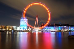 Camera test (raindog) Tags: longexposure red london night sony londoneye southbank riverthames embankment a6000