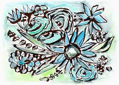 Beach Glass Flowers 1- Art by Linda Woods (lindawoods) Tags: pillow greetingcard tote homedecor corporateart setdesign hotelart livingroomart bedroomart gallerywall artbylindawoods artlicensing hospitalityart artforinteriordesigners airbnbdecor