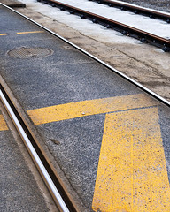 PM203013 small (ThomasKrannich) Tags: road street abstract texture lines yellow grey dresden construction rust pattern outdoor steel sigma rail railway nobody olympus diagonal cover lane manhole minimalism asphalt marking f28 gully 30mm pm2 albertbrcke mtcand