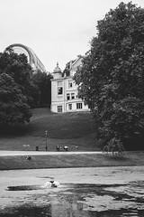 Leopold Park (Linus Wrn) Tags: park brussels blackandwhite bw monochrome architecture blackwhite pond europe belgium