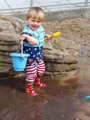 Sam and bucket (quinn.anya) Tags: playing smile bucket toddler sam mud totland