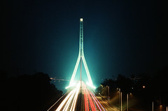 000045040036 (WayChen_C) Tags: bridge film night canon kodak kaohsiung freeway a1 高雄 lighttrail 斜張橋 高屏溪 ultramax400 大樹區 dashudistrict