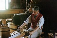 Cooper (John Vogel (HHO)) Tags: old village barrel 35mmfilm cooper sturbridge maker nikonfg osv