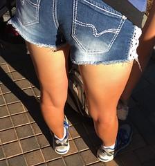 IMG_6879 (legsman37) Tags: hot sexy ass girl legs bare leg smooth tan tasty thigh thighs stems shorts tease calf seductive leggy longlegs calves daisydukes shortshorts jeanshorts gams taut denimshorts