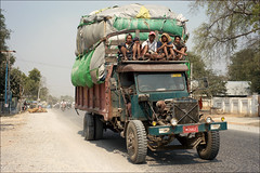 Overloaded? (*Kicki*) Tags: loaded load overloaded truck people car traffic street myanmar burma mandalay 50mm men cargo sagaing transport facesofmyanmar lorry asia