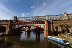 Manchester March 2016 (1 of 9) (johnlinford) Tags: city uk bridge england urban architecture manchester canal rail infrastructure girder canonefs1022