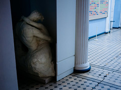 Hiding away (lar-f) Tags: sculpture art love statue museum kiss funny gallery indoor hidden embrace neoclassical