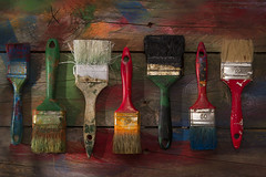 Color brushes (fotografiche) Tags: white color macro art wet water closeup set work watercolor painting creativity tin design colorful paint artist acrylic artistic background object space creative brush dirty used equipment painter oil tool isolated bristle palette craftsmanship
