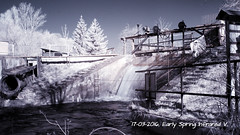 Early Spring Infrared V. (ntemptm) Tags: longexposure sky tree nature architecture river outdoors photography photo spring aqua czech bare sunny nopeople explore infrared springtime weir 720nm