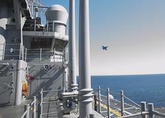 160420-N-YB590-N-012 (SurfaceWarriors) Tags: flightdeck flyover airman ussamerica firehoses airdepartment fa18dhornet lha6