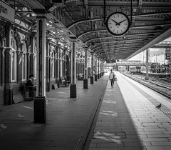 Walk the line. (Johnny Cash) (ian.emerson36) Tags: nottingham clock lines station architecture shadows platform victorian passenger