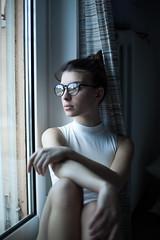 Daydreaming (la_cla25) Tags: winter light portrait cold home window beautiful beauty glasses casa model bokeh finestra inverno ritratto daydream freddo luce occhiali modella