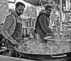 Lets get cooking (MWBee) Tags: blackandwhite london cooking mono nikon market boroughmarket d5000 mwbee