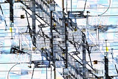Power Transmission - Abstract Composite (unclebobjim) Tags: oslo station norway powerlines transmission voltage amperes trains travel transport hdrd2p spotlight wires lattice beams supports insulators digitalartscenepro awardtree vividart abstractcomposite