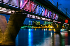 Tempe Town Lake (leobounds) Tags: longexposure nightphotography arizona landscape cityscape bridges tempe tempetownlake