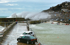 Mousehole Storm (jamiegaquinn) Tags: sea storm cornwall harbour wave spray breaker mousehole trashedcars