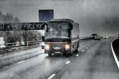 Coach, M5 Motorway in Bad Weather. (ManOfYorkshire) Tags: brown weather coach motorway bad bm hayes m5 coaches futura motoring bova vdl wj65eky