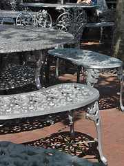Curves and Shadows (lefeber) Tags: city nyc newyorkcity urban newyork leaves shadows chairs tables castiron benches dappled libertyisland