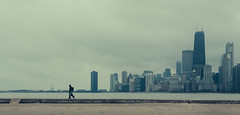 Leave the city behind! (One_Penny) Tags: city travel sky people urban usa lake chicago building look skyline architecture clouds analog america walking person photography town illinois cityscape unitedstates michigan lakemichigan shore tones hancocktower canon6d