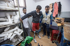Ramesh is helped by Yeti Raj Niraula, a physical therapist who specialises in prosthetics from Handicap International (Handicap International UK) Tags: nepal earthquake kathmandu survivors disability