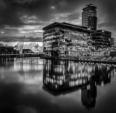 Quays (Kelly's Eye Pics) Tags: blackandwhite bw reflection water noir da salford quays 1685mm pentaxk5ii