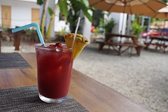 Refreshing!! (Kim's Pics :)) Tags: trees cold leaves fruit table outdoors restaurant costarica colorful wine drink cocktail pineapple juices umbrellas refreshing sangria straws manuelantonio quepos