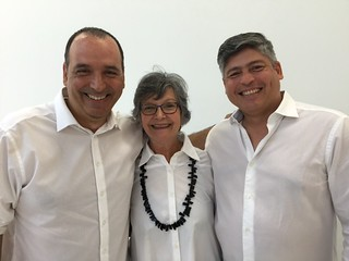 The White Shirt team: artist Andres Michelena, artcircuits.com Publisher Liana Perez and  Art Director Miguel Manrique.