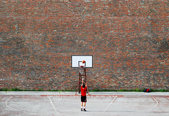 Behind the Wall (PM Kelly) Tags: street red brick basketball sport wall hoop court photography alone serbia brickwall belgrade thewall challenge serbian pmkphoto
