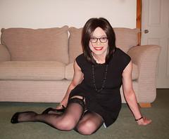 LBD (Starrynowhere) Tags: stockings glasses legs transgender tranny transvestite lipstick crossdresser lbd transvestism crossdressed dressedasagirl starrynowhere wearingwomensclothes emmaballantyne