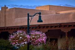 Flower Baskets and Lamp (Erik Pronske) Tags: morning flowers newmexico santafe lamp architecture sunrise us unitedstates blooms