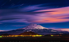 Moonlit Lenticular Clouds over Mt Shasta (Michael Holden) Tags: california longexposure mountain night us unitedstates i5 moonlit shasta vista mtshasta viewpoint lenticular startrails interstate5 yreka