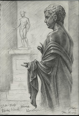 Drawing at the National Gallery of Art - Power and Pathos (20151219) (Zee Hoy Leung's Backup Storage) Tags: statue bronze roman rhodes nationalgalleryofart ancientrome graphitepencils himation powerandpathos