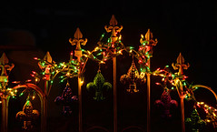 Fleurs on the Porch (BKHagar *Kim*) Tags: green gold lights iron purple decoration rail porch fleurdelis mardigras bkhagar