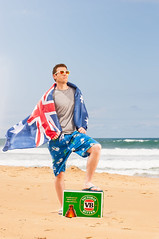 Australia Day! (Tristan#) Tags: red man guy beach water beer day waves flag australia thongs carton boardshorts vb sunnies pluggers bordies strobist