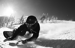 Close Carve. (Matty Stratton) Tags: blackandwhite mountain snow canada black castle snowboarding surf carving carve fisheye skate snowing castlemountain canda carveing