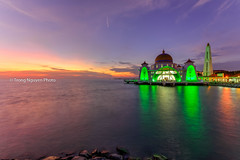 The Straits Mosque (trongnguyenphotos) Tags: ocean city travel blue sunset sky reflection building tourism beach monument water beautiful architecture night landscape island dawn town twilight scenery asia view symbol outdoor dusk muslim islam religion scenic floating belief landmark scene mosque shore believe malaysia dome historical straits strait melaka masjid mosques malacca attraction islamic malaca selat