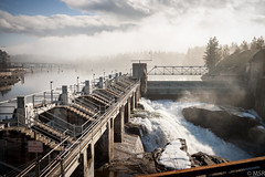 Post Falls Dam (rms697) Tags: winter mist water canon rocks power post dam north falls idaho hydroelectric 1dsm2