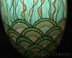 The Shallows (Katy David Art) Tags: blue orange shells seaweed green art water egg fine shell bubbles wax dye ukrainian wavy resist eggshell batik shallows pysanka pysanky fridayegg