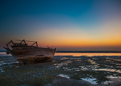 dhow boat at low tide, Qeshm Island, Laft, Iran (Eric Lafforgue) Tags: wood sea sky beach water horizontal outdoors photography harbor boat fishing marine asia waterfront iran harbour dusk traditional shoreline peaceful persia vessel nobody transportation lowtide nautical copyspace fishingboat tranquil dhow persiangulf qeshmisland laft anchoring hormozgan  fulllenght   iro straitofhormuz  nauticalvessel colourpicture  irandsc01950