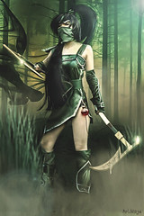 Assassin in the forest (ArtNinjaph) Tags: trees game green girl composition forest photomanipulation photoshop effects photography woods cosplay ninja lol smoke manipulation fantasy jungle weapon cinematic assassin photocomposition akali visualeffects femaleassassin artninja leagueoflegends artninjaph
