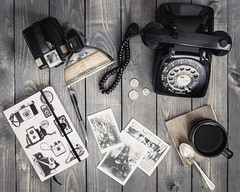 The Chronicler (Lisa Bell Jamison) Tags: camera stilllife history coffee photography phone historian journal brownie journalist rotaryphone
