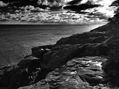 Schooner Head trail (jfusion61) Tags: ocean park bw white black ice monochrome bar clouds landscape harbor nikon head maine atlantic trail national d750 schooner acadia 2470mm